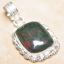 """Handmade Natural Bloodstone Jasper 925 Sterling Silver Pendant 1.75"""" #P08138"""