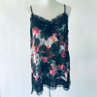Women's K Lab Lace Cami Tank Top Black Floral Extra Large XL NWT