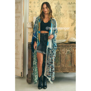 NWT Free People Keeping Up With the Kimono One Size Indigo Combo