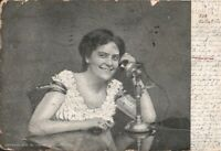 Vintage 1906 RP Postcard Woman on Phone, Bell Telephone, Antique