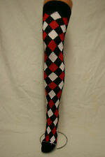 BLACK+WHITE+RED HARLEY QUINN DIAMOND/HARLEQUIN/JOKER OVER THE KNEE HIGH SOCKS