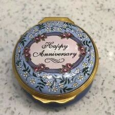 Halcyon Days Enamels Trinket box Happy Anniversary wedding years gift blue lily