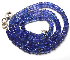 """NATURAL TANZANITE MICRO FACETED RONDELLE BEADS NECKLACE 3 TO 5.5 MM 16"""" AAA"""