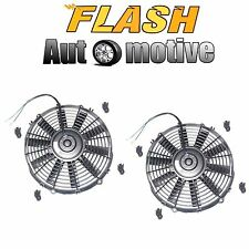"2x 12"" BLACK UNIVERSAL 12V SLIM PUSH/PULL ELECTRIC RADIATOR COOLING FAN 1730 CFM"