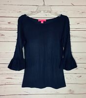 Lilly Pulitzer Women's S Small Navy Blue 3/4 Ruffle Sleeves Spring Sweater Top