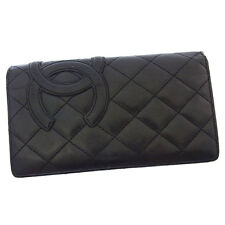 Chanel Wallet Purse Cambon line Black Pink Woman Authentic Used Y2654