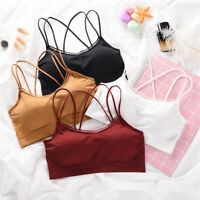 Women Stretch Workout Yoga Fitness Tank Seamless Padded Sports Bra Vest Crop Top