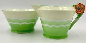 NORITAKE GREEN FLOWER HANDLE CREAMER & OPEN SUGAR BOWL, RED M MARK, EXCLNT COND