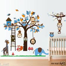 JUNGLE Scene Monkeys, Owls.. Nursery / Kids removable wall sticker