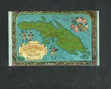 Y122 Chrome Postcard 3x5 map of Saint Thomas Virgin Islands