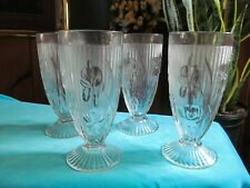 JEANETTE DEPRESSION GLASS,  CLEAR, IRIS/HERRINGBONE PATTERN, 4 TUMBLERS = VGC