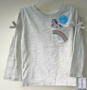 NWT Carter's Treasure Pocket Unicorn Sequin Rainbow Top Girl's Size 2T