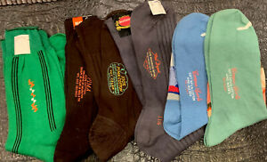 6-Vintage Mens Socks 1960s NOS New Old Stock Assorted 💯 cotton. SZ 11.5