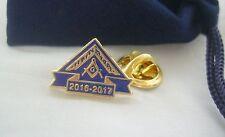 Masonic Lodge WM Worshipful Master Year 2016 2017 Lapel Pin Badge and Gift Pouch