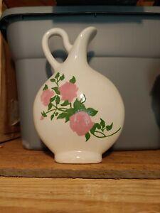 Hand Painted Flat Vase - Flowers