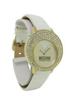 Moschino MW0048 Women's Round Swarovski Crystal Patent Leather Analog Watch