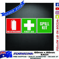 First Aid and Fire Extinguisher Spill Kit Decal Sticker Health Safety Truck Ute