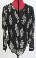 Lucky Brand Black w/White Floral Print Long Sleeve Shirt  Size S