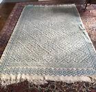 Grand tapis berbère laine brodé main beige&bleu, 245 x 153 cm