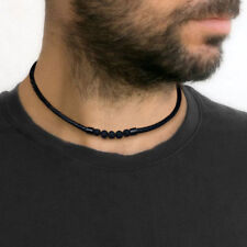 Man Lava Stone Necklace Choker Collar Braided Leather Rope Hobo Happie Jewelry