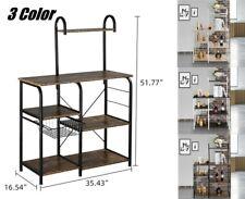 Microwave Oven Stand Storage Shelves Kitchen Baker Rack Microwave Rack w/ Hooks