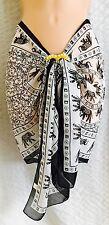 Ladies SARONG White/Black Mandala Elephant CHIFFON new UK Seller
