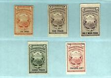 Az5G Costa Rica Revenue Stamps 50c-1P-2P-2.50P-5P Secretaria De Hacienda unused