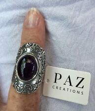 ❤️OR PAZ Creations AMETHYST STERLING SILVER 925 RING SZ 10 MADE IN ISRAEL NWT