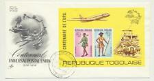 Togo 1974 Upu Rouletted Feuille sur Illustré Premier Jour Officiel (