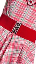 HELL BUNNY Red Retro 50s Rockabilly Nurses Elasticated Cinch Waist Belt