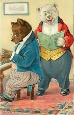 "Tuck Embossed Postcard Ser. No.118 Dressed Little Bears sing ""A Very Funny Song"""