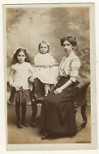 Portrait Of A Mom And Her Two Young Daughters In Camberwell, England- Vint Rppc