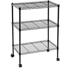 3 Tier Adjustable Wire Metal Shelving Storage Rack With 15 Plastic Wheels