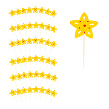 Festive Party Time Christmas Cocktail Stick Toppers - Yellow Star (48 Pack)