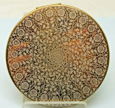 Vintage Vogue Gamities ladies compact mirror Gold tone white lace design
