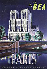 Art Ad British Airways Paris BEA Travel   Poster Print