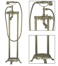 Antique Bronze Floor Mount Bathtub Fill Faucet Freestanding Bath Shower Mixer