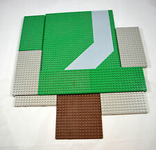 LEGO LOT 9 Lego Base Plates Green Gray Brown Different Sizes
