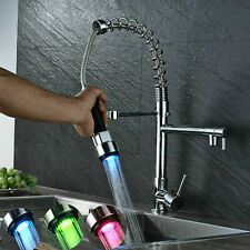 LED Kitchen Sink Faucet Spring Pull Down Sprayer Chrome Swivel Spout Mixer Tap