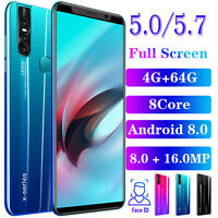 """Cheap 5.0/5.7"""" Unlocked Android Mobile Smart Phones Octa Core 4G+64G Dual SIM 3G"""