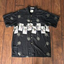 9ce153df Ron Chereskin Mens Hawaiian Black Pin-Up Lady Palm Tree Size L Button-Up