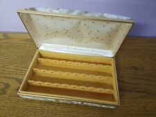 Vintage Floral Hard Case Earring Travel Organizer Jewelry Box Hinged
