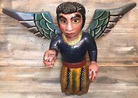 "VTG '70 Nahua ""Angel Masculino"" 21"" Wings Polychrome Wood Folk Art GUERRERO"