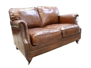 New Distressed Real Genuine Leather Aniline 2 Seater Sofa Couch Brown Top Grain
