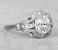 Vintage Edwardian Engagement Ring Diamond Art Deco Wedding Ring 14k Gold Over