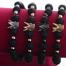 Luxury Crown Natural Stone Matte Black Charm Men's CZ Copper Bead Chuck Bracelet