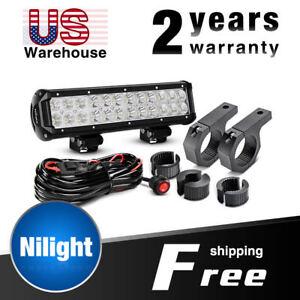 "Nilight 12"" 72W Combo LED Light Bar, Mounting Bracket Tube Clamp,Wiring Harness"