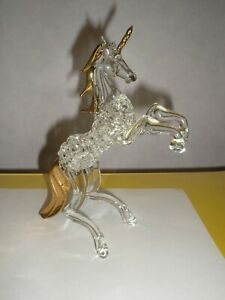 Glass Crystal Effect Rearing Unicorn with Gold Accented Tail, Mane and Horn