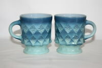 Set of 2 Vintage Anchor Hocking Fire King Kimberly Diamond Blue coffee mugs