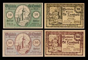 1920 AUSTRIA (ST. LEONHARD AM WALDE) 2 'NOTGELD' BANKNOTE SET